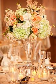 Big Glass Vases For Centerpieces by Grapevine Floral Of Illinois Centerpiece Of Green Hydrangea Peach