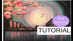 how to paint evening skyline easy tutorial for beginners step by