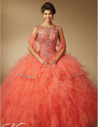 coral quince dress click to buy gown beaded 2017 coral quinceanera dresses