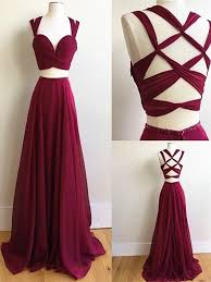 custom made burgundy wine red 2 pieces long prom dress 2 pieces