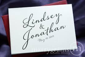 custom wedding stationery name date thank you card diagonal