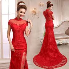wedding dress for evening mandarin collar trailing mermaid evening dress floral lace