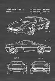 car ferrari drawing ferrari 360 patent patent print wall decor automobile decor