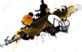 abstract color basketball man and ball poster background withs