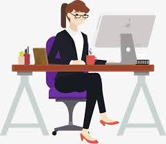 à mon bureau la femme de vecteur de peints à la assis à mon bureau