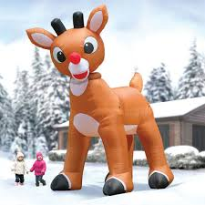Blow Up Christmas Decorations On Sale by The 15 U0027 Inflatable Rudolph Hammacher Schlemmer