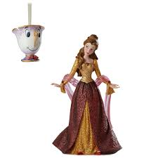 disney showcase christmas belle figurine and chip ornament set