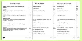punctuation activity sheets punctuation punctuation