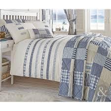 nautical stripe duvet quilt cover cream u0026 blue bedding bed set