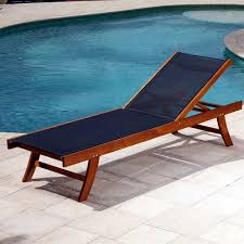 Pool Chaise Lounge Teak Sun Lounger With Mesh Fabric Contemporary Outdoor Chaise Pool