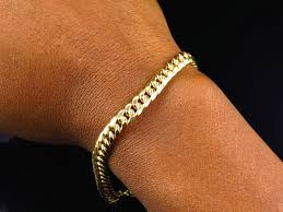 gold link bracelet mens images New mens 10k yellow gold handmade hollow miami cuban link bracelet jpg