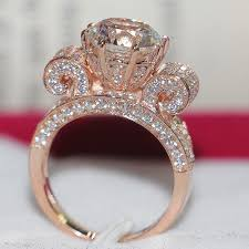sterling diamond rings images Best sterling diamond rings never fade ring rose gold color 3carat jpg
