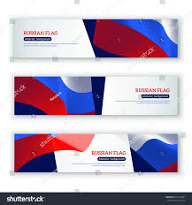 Colors Of Russian Flag Horizontal Banners Russian Flags Vector Illustration Stock Vector
