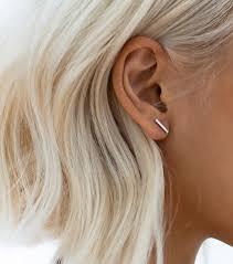 staple earrings staple 925 sterling silver tarnish resistant stick stud earrings