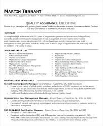 Resume For Test Lead Sample Resume For Quality Manager Quality Assurance Executive