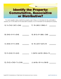 commutative associative or distributive 3rd grade math