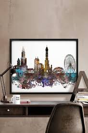 chicago home decor chicago art print chicago poster chicago skyline watercolour print
