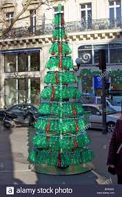 christmas tree made from recycled green plastic bottles in paris
