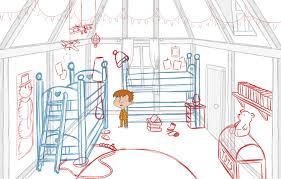 sketching the layout for the children u0027s bedroom and props the