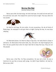 reading comprehension worksheet benny the bat passages for