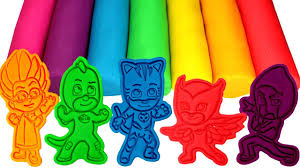 pj masks play doh molds learn colors catboy owlette gekko