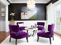 black u0026 white dining room with purple tufted dining chairs home