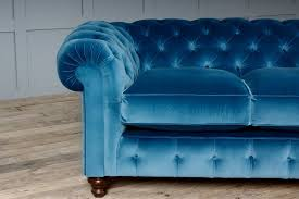 Blue Velvet Chesterfield Sofa St George Velvet Fabric Chesterfield Sofa
