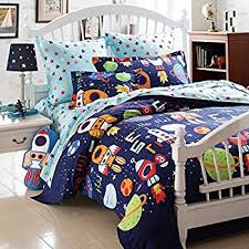 amazon com brandream boys galaxy space bedding set kids bedding