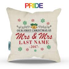 mr and mrs pillows personalized our christmas as mr and mrs throw pillow