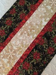 gold christmas table runner christmas table runner quilt black red white gold snowflakes
