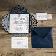 classic nautical navy blue laser cut wedding invitations ewws095