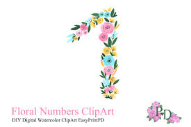 Number One Number Watercolor Clipart Number One Illustrations Creative Market