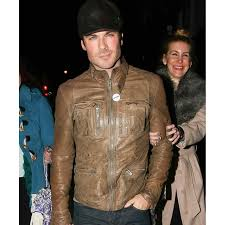 motorcycle leathers ian somerhalder leather jacket distressed brown motorcycle jacket