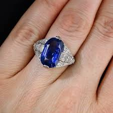 oval blue sapphire diamond art deco engagement u0026 wedding ring