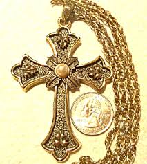 vintage cross necklace images Vintage huge cross necklace sarah coventry limited edition jpg