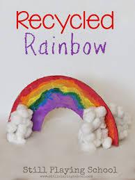 recycled cardboard rainbow craft still playing