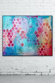 blue pink abstract painting on canvas by crystalreneefineart art