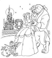 beast in a beautiful night with belle coloring page beauty and