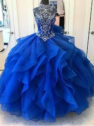 royal blue dress buy gown high neck royal blue tiered beaded organza
