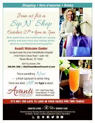 sip and shop invitation sip n u0027 shop avanti senior living assisted living community