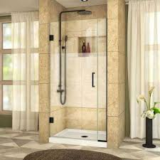 Half Shower Doors Frosted Patterned Shower Doors Showers The Home Depot