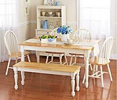 farmhouse table and chairs with bench amazon com white dining room set with bench this country style