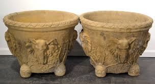 pair of monumental hand carved elephant planters in cement at 1stdibs