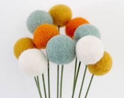 Yellow Pom Pom Flowers - view felt ball flowerbouquets by sheepfarmfelt on etsy