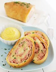 3 ingredient baked ham and cheese rollups