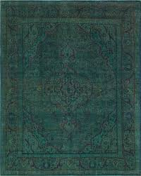 shatzer vintage distressed overdyed hand knotted wool green area