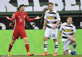 target in the summit at gladbach 0 1 bayern munich muller on target in away win