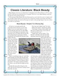 reading comprehension worksheet set for black beauty