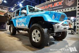 black and teal jeep 2017 sema black forest blue jeep jk wrangler unlimited gladiator