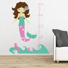 mermaid ocean wall decal growth chart children u0027s bedroom